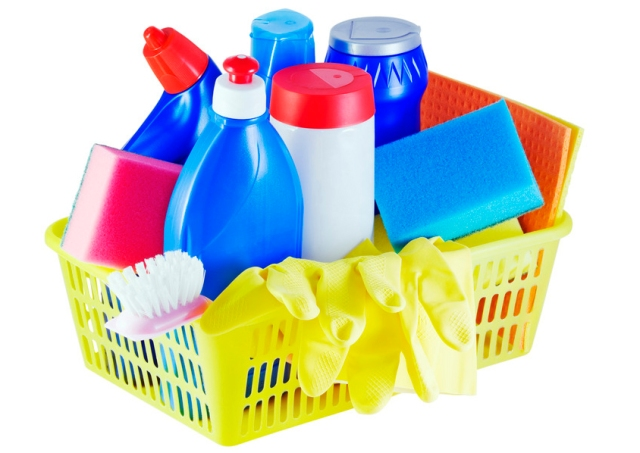 various household chemicals and tools for cleaning